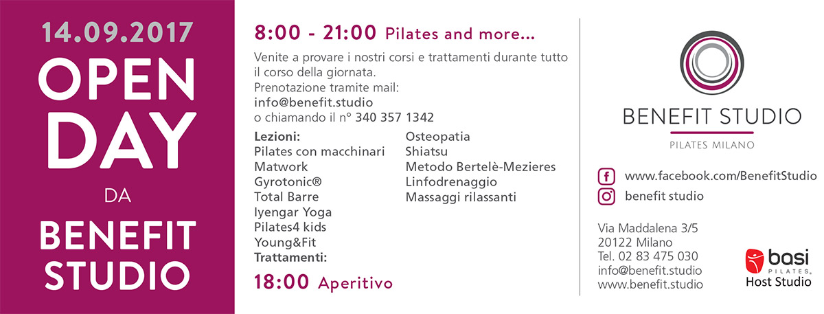 invito open Day Pilates Milano